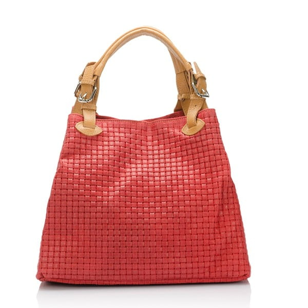 Kožená kabelka Italia 858, červená