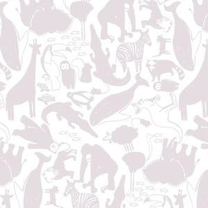 Světle fialová tapeta do dětského pokoje Art For Kids Animals, 48x1000 cm