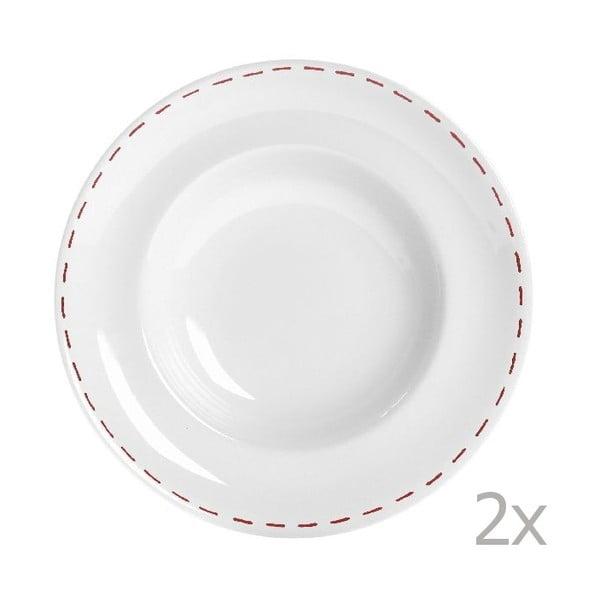 Sada 2 talířů na těstoviny Sophie Stitch 30.5 cm, červený