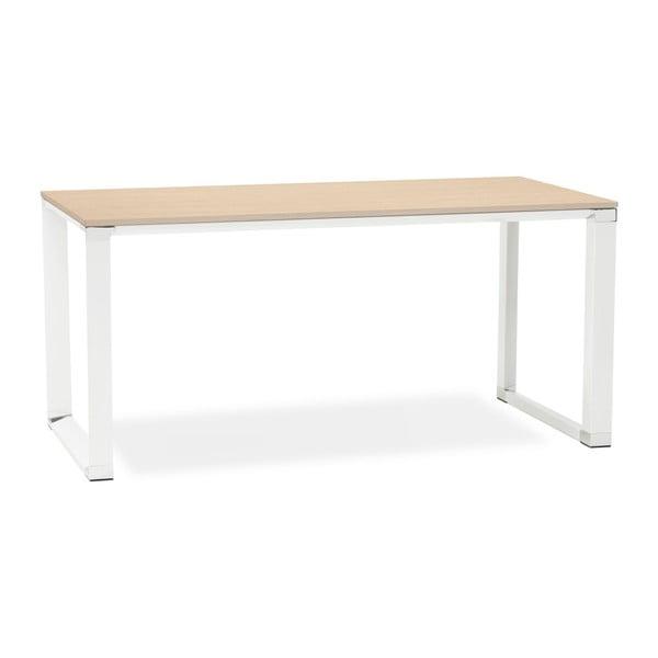 Biely pracovný stôl s prírodnou drevenou doskou Kokoon Warmer