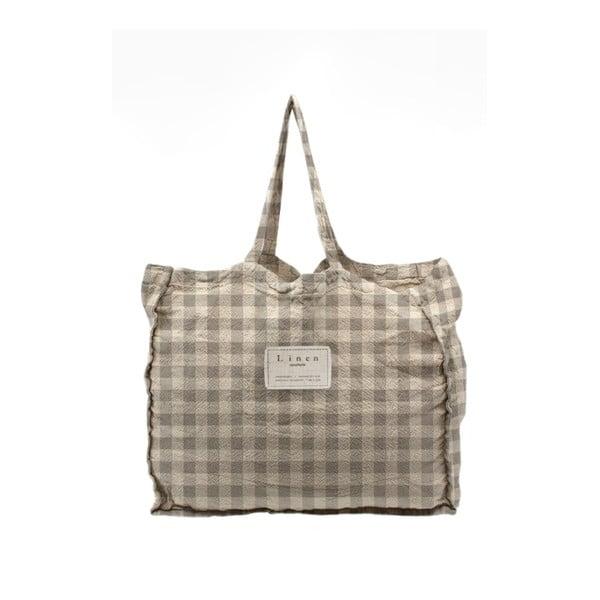 Geantă textilă Linen Couture Linen Bag Grey Vichy