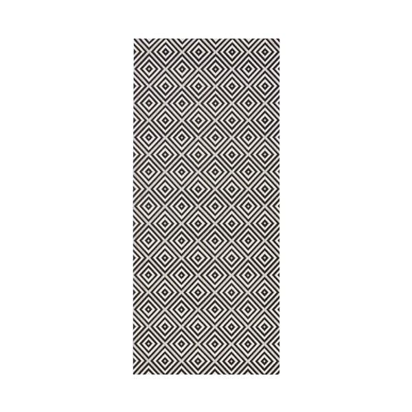 Čierny behúň vhodný aj do exteriéru Karo, 80×150 cm