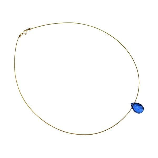 Zlatý náhrdelník Blue Topaz Quartz Teardrop (topaz)