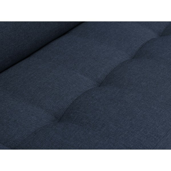 Modrá rohová rozkládací pohovka s nohami ve stříbrné barvě Cosmopolitan Design Orlando, levý roh