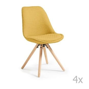 Set 4 scaune cu picioare de lemn La Forma Lars, galben muștar