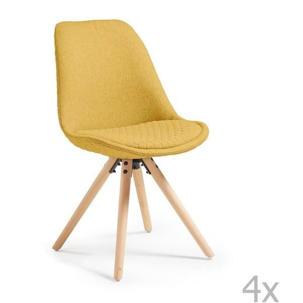 Zestaw 4 musztardowych krzeseł do jadalni La Forma Lars