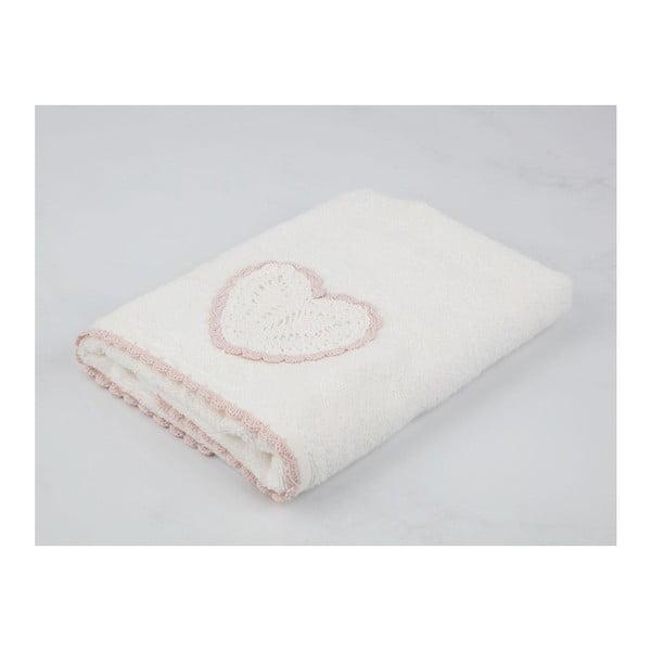 Krémově bílý bavlněný ručník k umyvadlu Madame Coco Heart, 50 x 76 cm