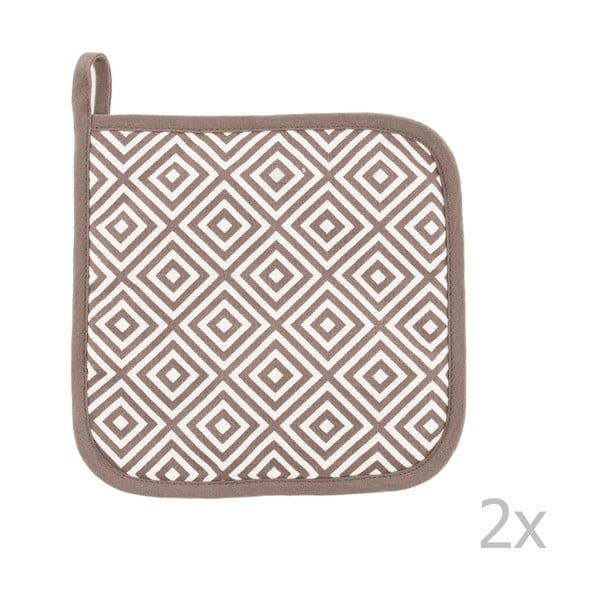 Komplet 2 brązowych bawełnianych łapek Tiseco Home Studio Hexagon Tetris