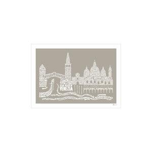 Plakát Venezia Brown&White, 50x70 cm