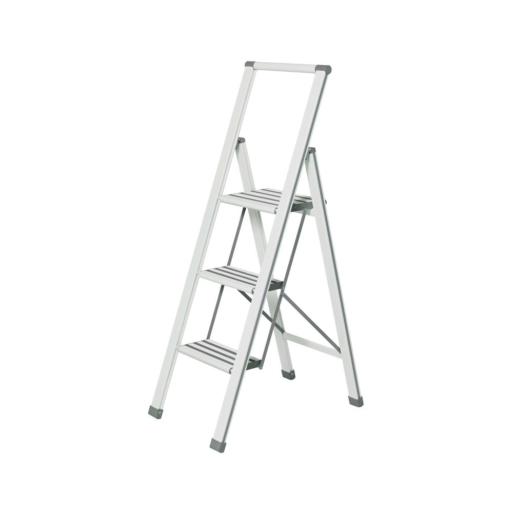 Bílé skládací schůdky Wenko Ladder Alu, výška 127 cm