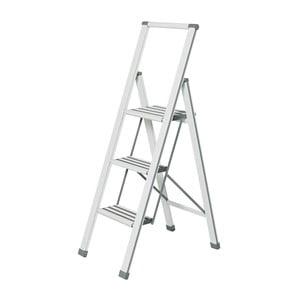 Bílé skládací schůdky Wenko Ladder Alu, 127 cm