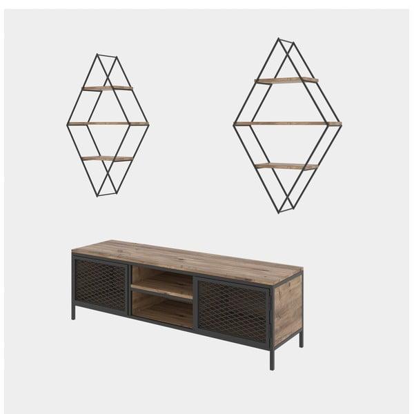 Zestaw komody pod TV i 2 półek w dekorze drewna sosnowego Prizma