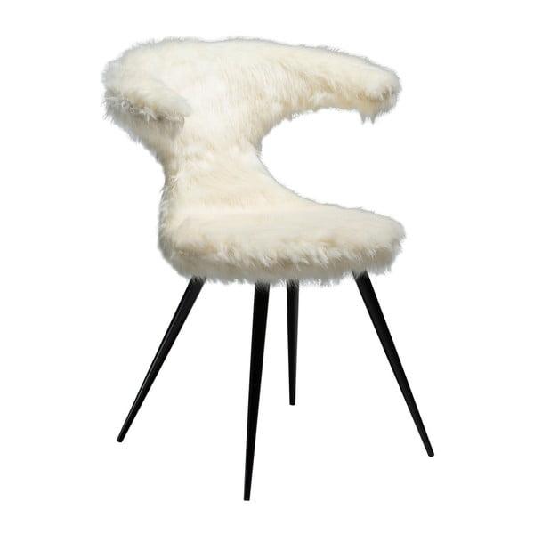 Białe krzesło z imitacją owczej skóry DAN-FORM Denmark Flair