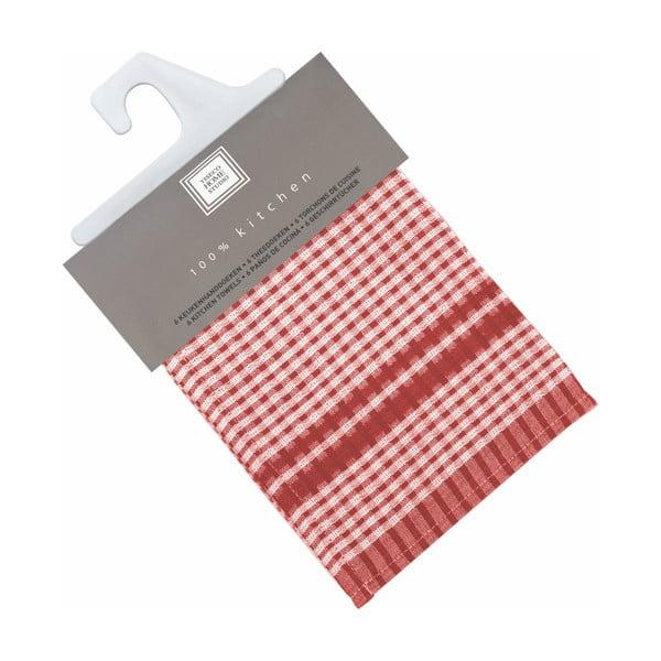 Sada 6 červených bavlněných utěrek Tiseco Home Studio Cristal, 50 x 70 cm