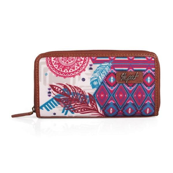 Růžovo-bílá peněženka SKPA-T, 19 x 9,5 cm