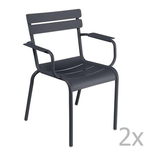 Sada 2 antracitových židlí s područkami Fermob Luxembourg