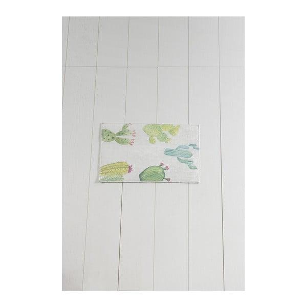 Biało-zielony dywanik łazienkowy Tropica Cactus I, 60x40 cm