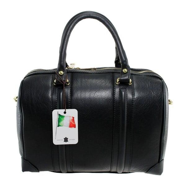 Černá kožená kabelka Boston