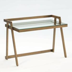 Pracovní stůl ze skla a kovu bronzové barvy Thai Natura Excel, 120 x 86 cm