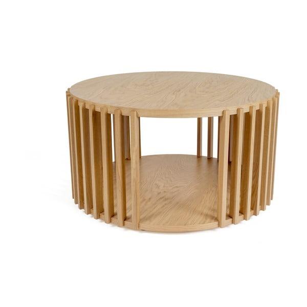 Stolik z drewna dębowego Woodman Drum, ø 83 cm