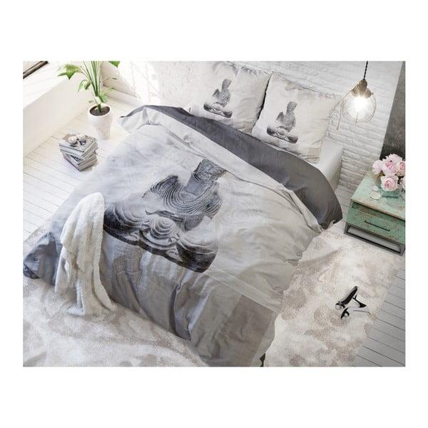 Bílé povlečení z mikroperkálu na jednolůžko Sleeptime Buddha Love,160x200cm