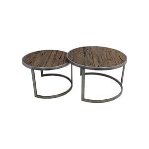 Sada 2 konferenčních stolků z teakového dřeva HSM collection Damon