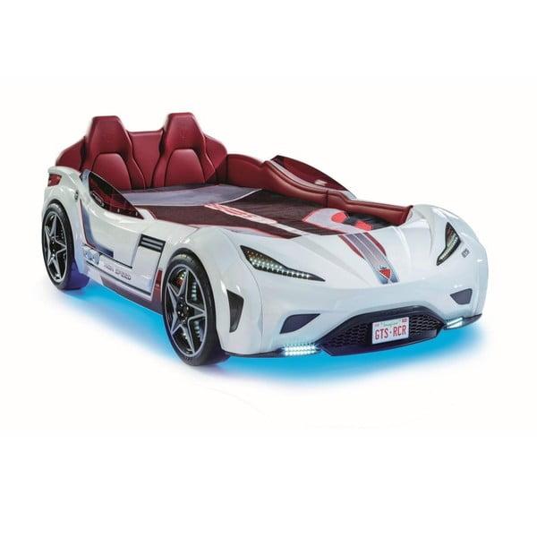 Fast GTS Carbed White autó formájú fehér gyerekágy, türkiz lámpákkal