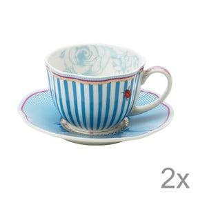 Porcelánový šálek s podšálkem Stripie od Lisbeth Dahl, 2 ks
