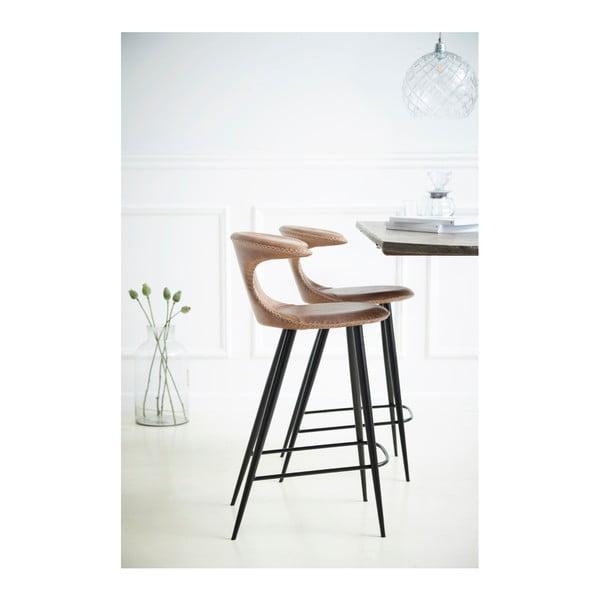 Hnědá barová židle s koženkovým sedákem DAN-FORM Denmark Flair