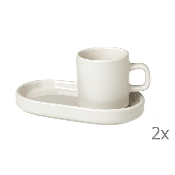 Set 2 cești cu farfurioară pentru espresso din ceramică Blomus Pilar, 50 ml, alb