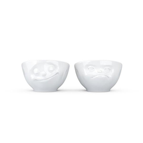 Sada 2 bielych porcelánových misiek na vajíčka 58products Happy & Hmpff