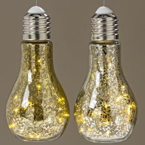 Sada 2 závěsných světelných LED dekorací Boltze Bulb,výška18cm