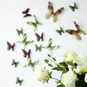 Set 18 autocolante adezive 3D Ambiance Butterflies, verde