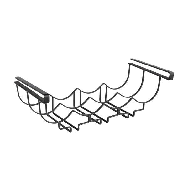Čierny kovový stojan pod poličku na poháre Wenko