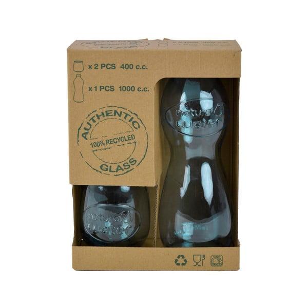 Set lahve na vodu a 2 sklenic z recyklovaného skla Ego Dekor Water