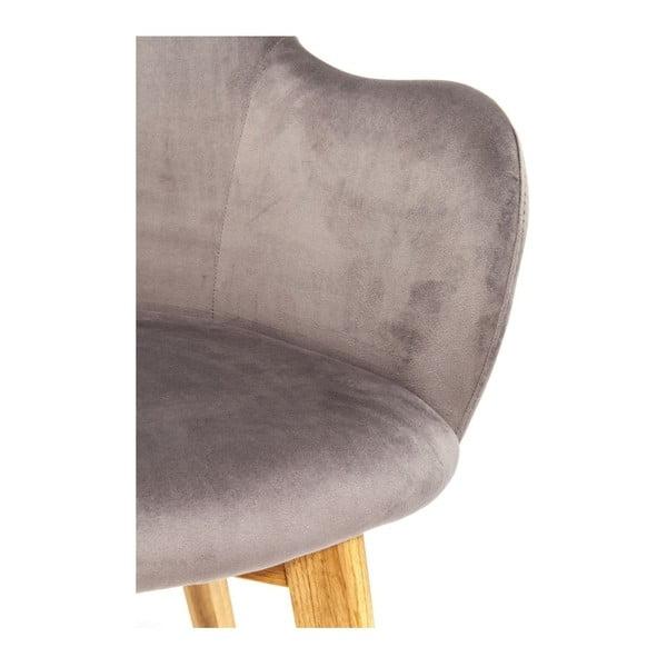 Tmavě šedá židle s nohami z dubového dřeva Kare Design