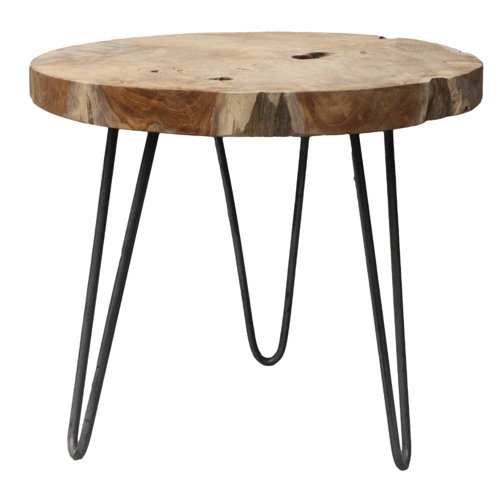 Odkládací stolek s deskou z teakového dřeva HSM collection Helen, ⌀ 55 cm