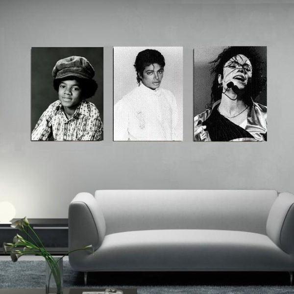 3dílný obraz Michael Jackson, 45x90 cm
