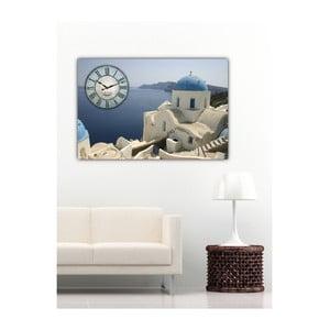 Obraz s hodinami Santorini, 60x40 cm