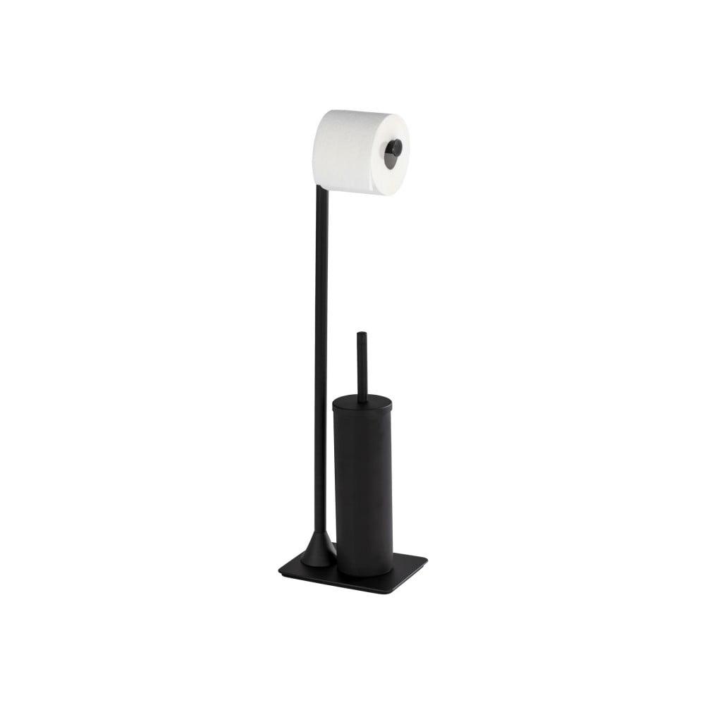Černý stojan na toaletní papír stoaletním kartáčem Wenko Hella