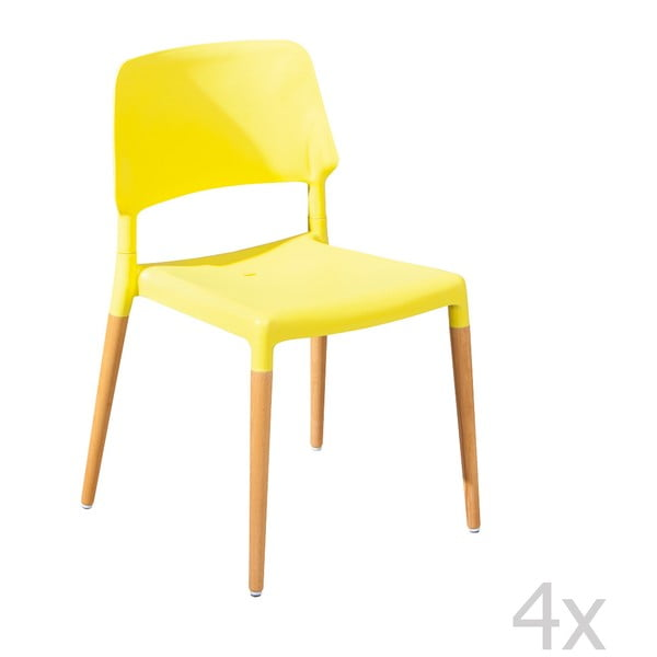 Sada 4 jídelních židlí Molde Yellow