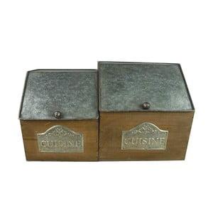 Sada 2 dřevěných boxů s kovoým víkem Antic Line Cuisine