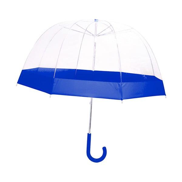 Dětský transparentní holový deštník s modrými detaily Birdcage, ⌀58cm