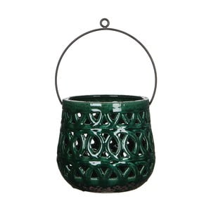 Zelená keramická lucerna Mica Monique, 17x19cm