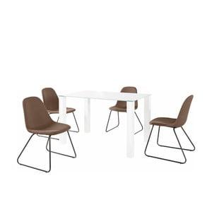 Set bílého jídelního stolu a 4 tmavě hnědých jídelních židlí Støraa Dante Colombo