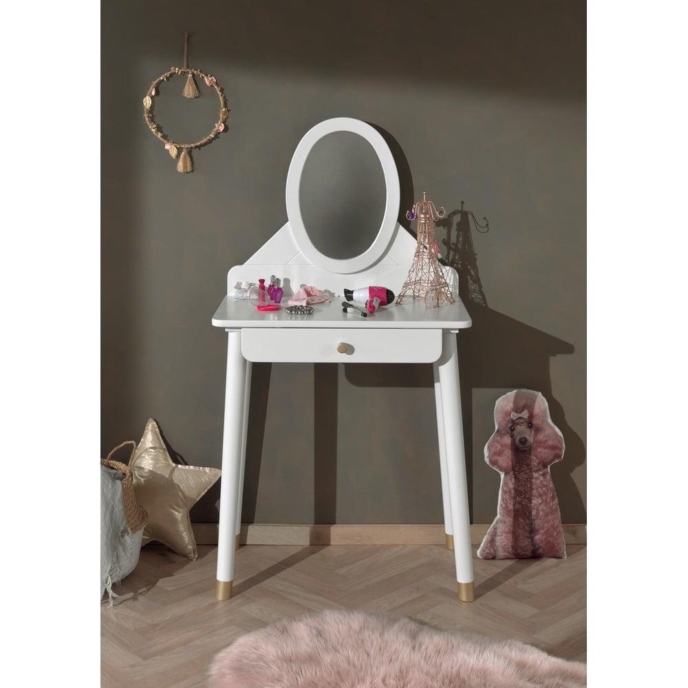 Bílý dětský toaletní stolek z borovicového dřeva Vipack Billy