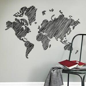 Samolepka na zeď Kreslená mapa, 120x90 cm