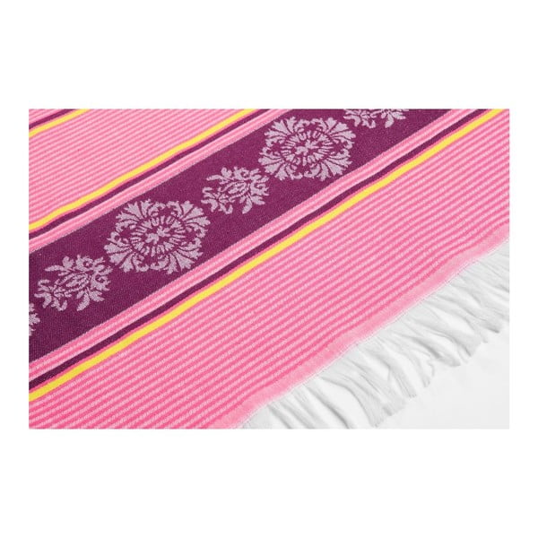 Prosop hammam Deco Bianca Loincloth Pink Stripe, 80 x 170 cm, roz - violet