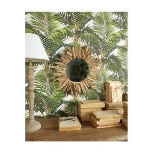 Zrcadlo s dřevěným rámem Orchidea Milano Natural, ⌀47cm