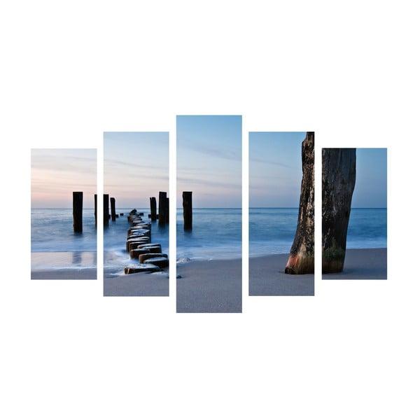 5dílný obraz Walk Sea, 60x100 cm